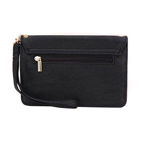 Conze Mujer embrague cartera todo bolsa con correas de hombro para Smart Phone para Lenovo K910/K3/K800 negro negro negro
