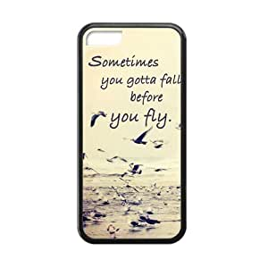 Elegant Retro Sometimes You Gotta Fall Quote Apple Iphone 5C Case Cover TPU Laser Technology Seagull Birds hjbrhga1544