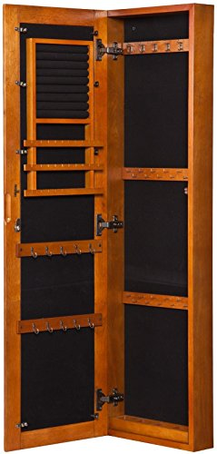 Oak Jewelry Armoire Storage Wall Mount Full Length Mirror Locking Distressed Finish Bedroom Decor by Lana45 (Image #5)