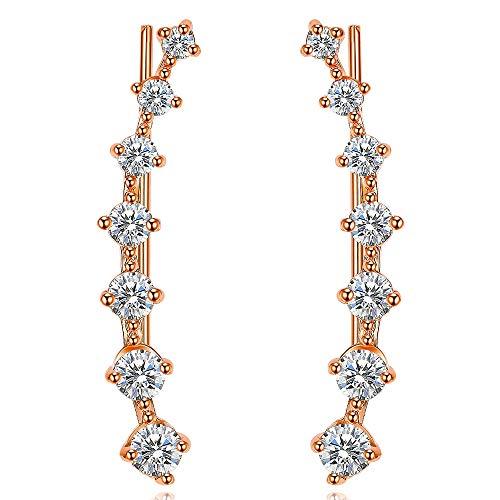 (7 Crystal Ear Cuffs Wrap Climber Earring S925 Sterling Silver Earrings Hypoallergenic Earring-RG)