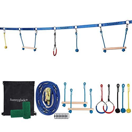 Sunnyglade Backyard Ninja Line Hanging Obstacle Course/Slackers Ninja Line Accessories for Kids - 40ft Slackline Kit with 2 Bars, 3 Fists & 2Rings Perfect Ninja Warrior Training -