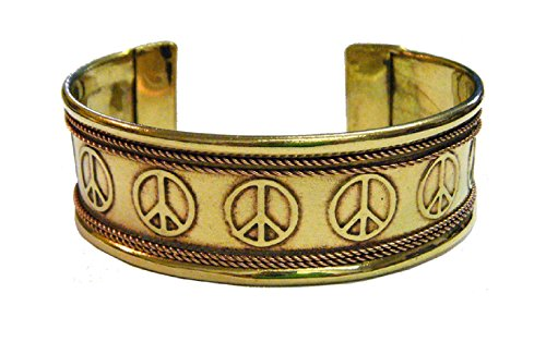 (Peace Sign Engraved Copper and Brass Bracelet New Age Jewelry)