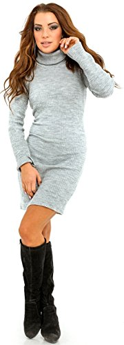417 Robe pull tele roul Gris Robe Glamour maille c Empire en col Clair moulante Femme 7wqxZw84