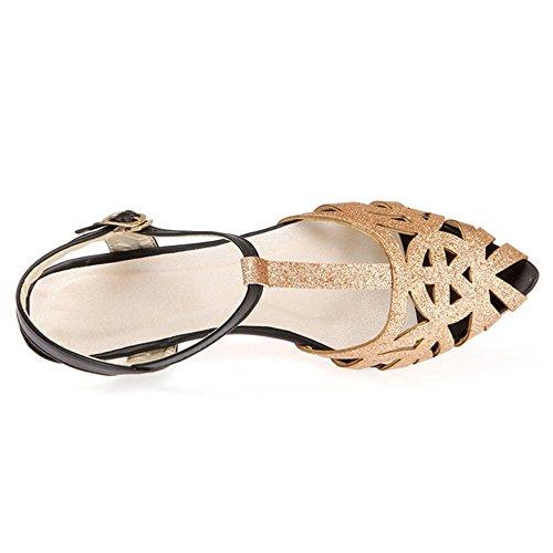 Cuir Taille PU Femmes Gold Cheville TAOFFEN Grande en Chaussures Bride 4XUFPqS