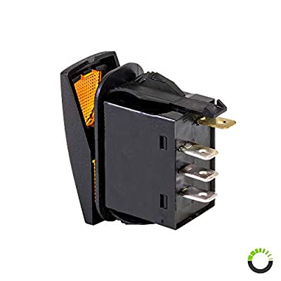 12V DC 20A 4-Pin LED ON-Off-ON SPDT Rocker Switch - Amber: Automotive