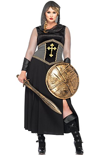 Joan Of Arc Costumes (Leg Avenue Women's Plus-Size Joan Of Arc Costume, Black/Silver, 1X/2X)
