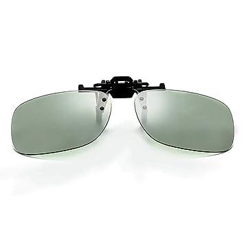 Gafas de sol polarizadas con clip, Aolvo Unisex Flip Up Over Metal Clip Rimless anteojos de sol para anteojos de prescripción Protección UV negro ...