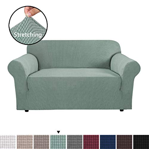 (H.VERSAILTEX High Stretch Loveseat Cover 1 Piece Stylish Furniture Cover/Protector with Spandex Jacquard Checked Pattern Fabric Loveseat Sofa Covers for Living Room, Machine Washable, Sage)
