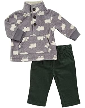 Carter's Baby Boys' Long-sleeve Microfleece Pant Set