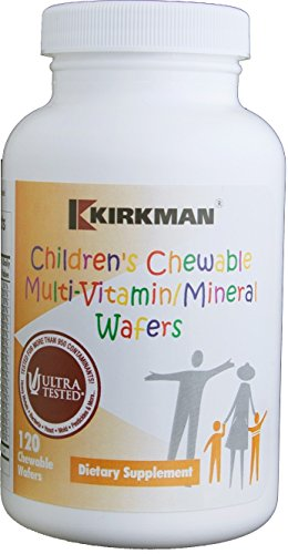 Kirkman Children's Chewable Multi-Vitamin/Mineral | 120 Wafers | Gluten Free | Casein Free | Mango/Peach Flavor