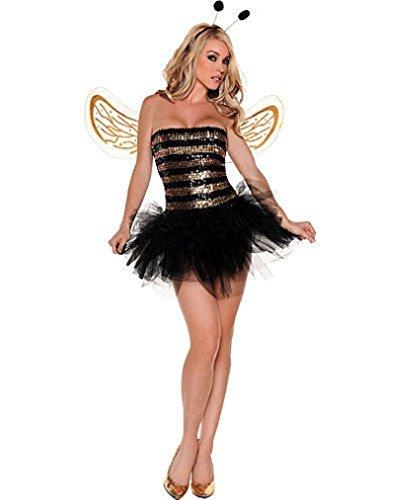 [Fancy Sexy Sequins Honey Bee Adult Costume] (Little Honey Bee Girls Costumes)