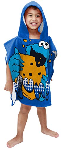 (Jay Franco Sesame Street Cookie Monster Super Soft & Absorbent Kids Hooded Bath/Pool/Beach Towel - Fade Resistant Cotton Terry Towel, Measures 22 inch x 22 inch (Official Sesame Street Product))