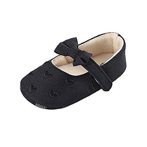 Zapatos de bebé,Auxma Zapatos de lona únicos suaves antideslizantes de la zapatilla de deporte de los zapatos de lona del nudo del arco del bebé para 0-18 meses Negro