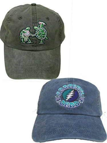 Grateful Dead Terrapin and Batik Bolt Embroidered Hats - 2 Pack