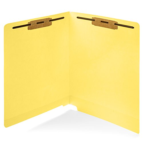50 Yellow End Tab Fastener File Folders- Reinforced Straight Cut Tab- Durable 2 Prongs Designed to Organize Standard Medical Files, Receipts, Office Reports, and More - Letter Size, Yellow, 50 Pack (Tab File End)
