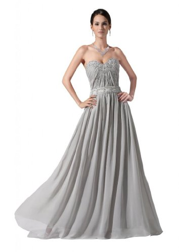 Orifashion para vestido de noche mujer tr?Gerlos gris gris