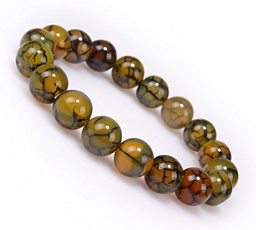 Antiquity Sian Art 3/8'' Agate Multicoloured Bead Stretch Charm Jewelry Bracelet Bangle (brown) 7