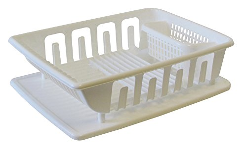 United Solutions SK0122 2-Piece Sink Set Dish Drainer and Drainboard, White, Large - Disk Rack With Drain