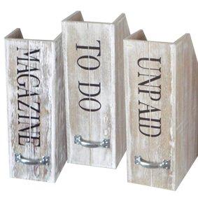 Set of 3 Wooden Magazine Tidy To do Paperwork Box Files: Amazon.co ...