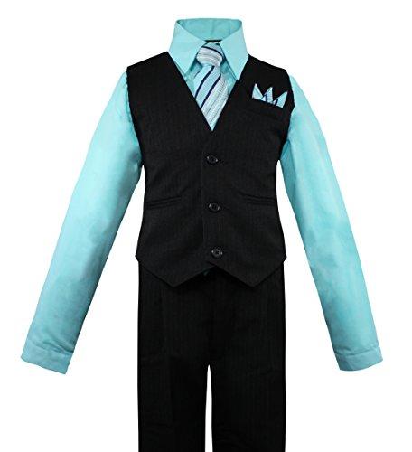 (Luca Gabriel Toddler Boys' 4 Piece Pinstripe Vest Shirt Tie Pant and Hanky Set Aqua - 7)