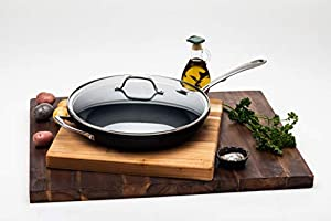 Kitchara Hard Anodized 12 Inch Fry Pan, Aluminum Non Stick Skillet with Glass Lid