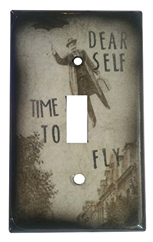 [Dear Self, Time to Fly Steampunk Man with Umbrella Mixed Media Light Switch Cover] (Steampunk Decorations)