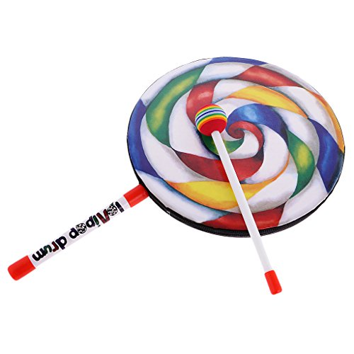 MonkeyJack Colorful Lollypop Hand Drum for Kids Music Learning Educational Toy 10 inch