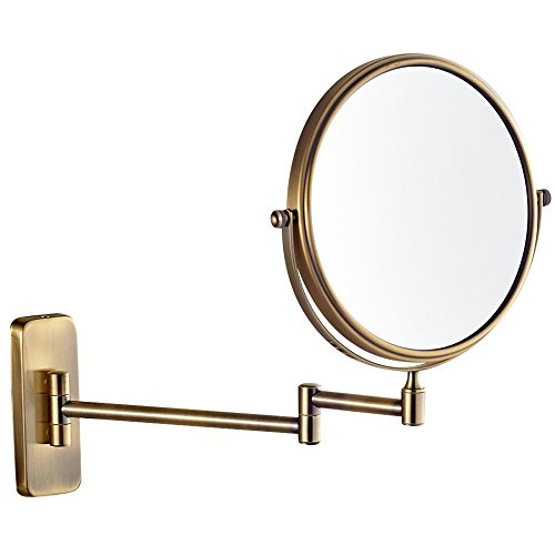 Wall Mount Makeup Mirrors with 5x Magnification, Antique Brass Finished M1406K(8 inch5Magnification) ()