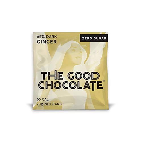 The Good Chocolate Zero Sugar 65% Ginger Dark Chocolate Bars, Organic, Keto Friendly, Low Carb, Sugar Free Snacks and Treats, 0.4 Ounce Individually Wrapped Squares (18 Pack)