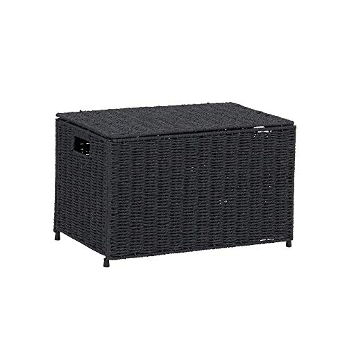 Household Essentials Black ML-7130 Decorative Wicker Chest with Lid for Storage and Organization | Small (Baskets Lidded Wicker Small)
