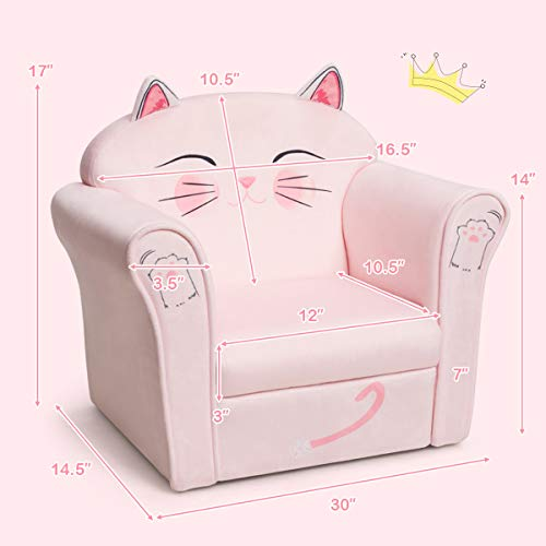 HONEY JOY Toddler Couch, Cozy Kids Sofa with Fun Cartoon Character, Toddler Furniture with Linen Fabric & Sturdy Wood Construction, Toddler Chair for Boys Girls(Pink Cat)