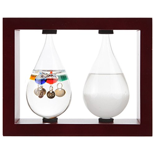 Lily's Home Desktop Weather Station, with Galileo Thermometer and Fitzroy Storm Glass Weather Predictor in Beautiful Tear Drop Shapes, 5 Multi-Colored Spheres, Cherry (7.25 in x 5.75 -