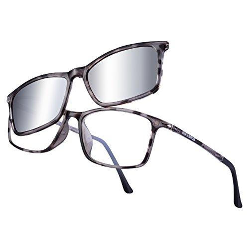 RockBros Optical Frames with Polarized Lenses Ultralight Eyewear Sunglasses UV Protection for Men Women Outdoor - Polarized Transitions Are Lenses
