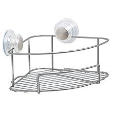 InterDesign Turn-N-Lock Suction Bathroom Shower Caddy Corner Basket Shelf for Shampoo, Conditioner, Soap - Silver