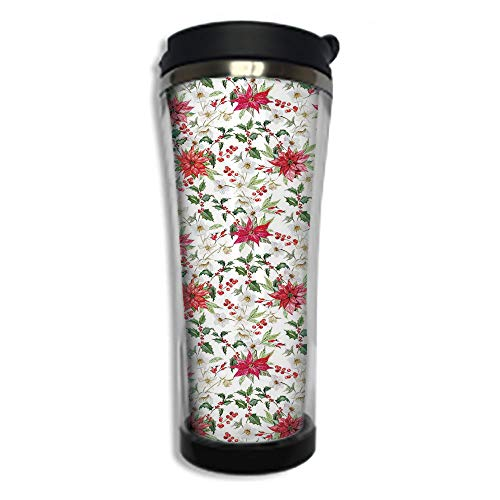 Travel Coffee Mug 3D Printed Portable Vacuum Cup,Insulated Tea Cup Water Bottle Tumblers for Drinking with Lid 8.45 OZ(250 ml)by,Watercolor,Fresh Poinsettia Flowers and Rowan Berry Branches Christmas