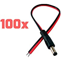 TNTE Male Red Black DC Wire Power Pigtails Adapter Plug Lead Cord Coax Cables CCTV Camera CCTV DVR Camera 2.1 x 5.5mm (100 PACK) …