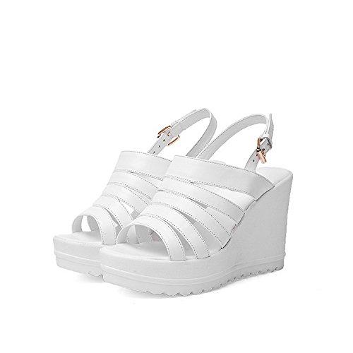 VogueZone009 Women's Open Toe Buckle Blend Materials Solid High Heels Sandals White xPnzy