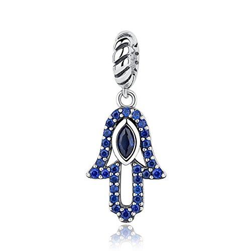 BAMOER 925 Sterling Silver Evil Eyes God Hands Fashion Necklace Pendant Fits DIY European Bracelet