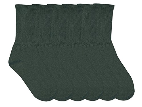 Jefferies Socks Boys Classic Cotton Crew Rib Socks 6 Pair Pack (XL (10-13) - USA Shoe 9-13, Hunter) (Rib Dress Sock Classic)