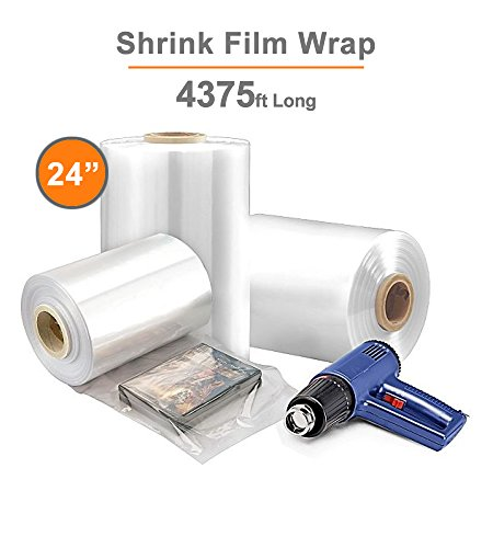 24 inches x 4375 Shrink Film Roll, Centerfold, Crosslinked, 60 Gauge Thick/1 Roll (Gauge 4375' Roll 60)