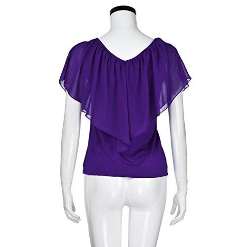 T Shirt Blouse Chic Mousseline Couleur Option Violet Chemises Manche Irrgulire en d'paule Casual Chemisiers Multi en Haut Courte Hauts Hors LUCKYCAT Femmes Ete Veste fwxzqE