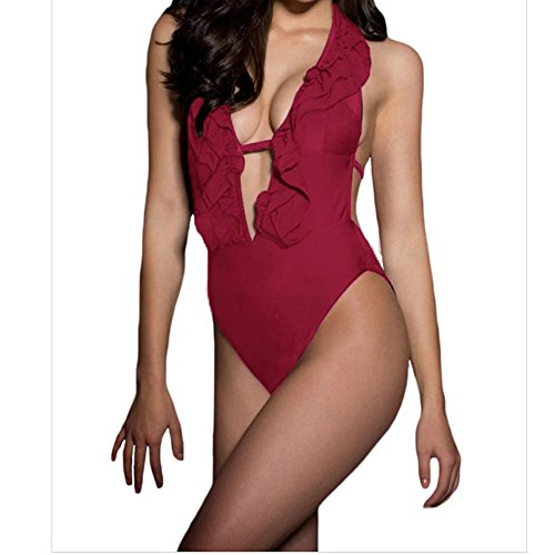 [Elakaka Burgundy Ruffled Deep V One Piece SwimsuitSize,S)] (Witch Coustumes)