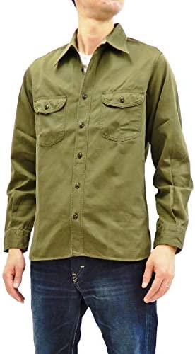 Buzz Rickson BR26081 ヘリンボーン ミリタリー ワークシャツ メンズ 無地 長袖シャツ