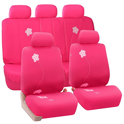 FH Group Universal Fit Full Set Floral Embroidery Design Car Seat Cover, (Pink) (FH-FB053115, Airbag compatible and Split...