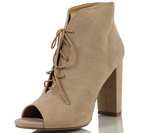 Wild Diva Women's Morris 13 Faux Suede Peep Toe Lace Up Chunky Heel Ankle Bootie