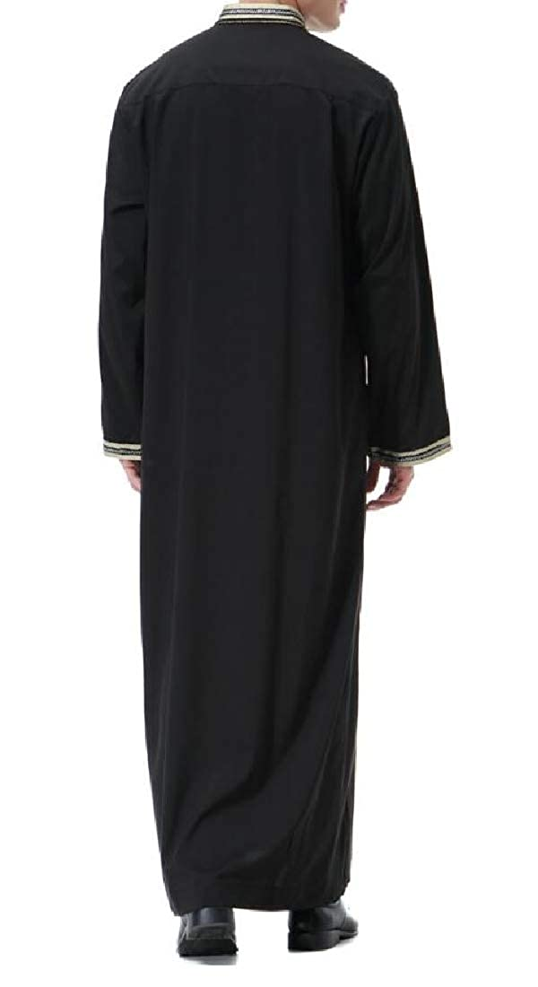 Fubotevic Mens Loose Fit Plus Size Stand Collar Muslim Robes Long Sleeve Pockets Top Shirt