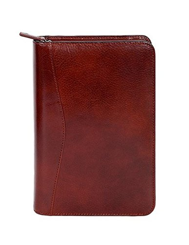 Scully 5045Z-06-30-F Italian Leather Zip Weekly Planner - Mahogany - Scully Leather Zip Weekly Planner