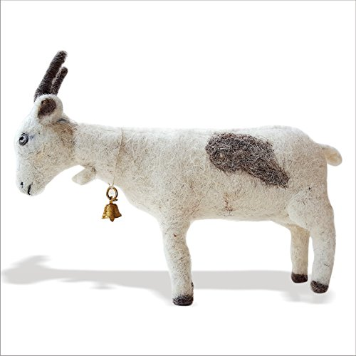 De Kulture Works Hand Made Felt Hanging Showpiece Goat 2x4x3 (LWH) (Multicolour)
