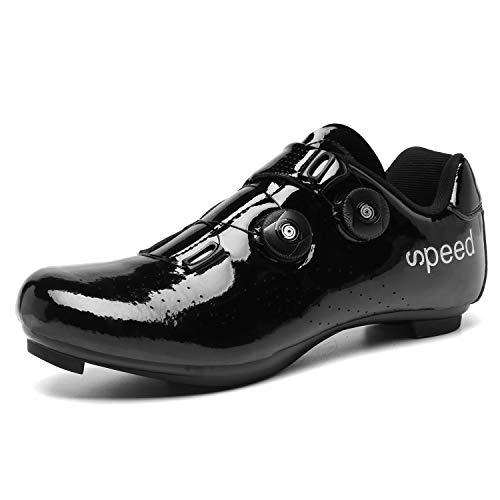 Ruiatoo Road Cycling Shoes Peloton Shoes Men Outdoor Indoor SPD-SL Spinning Biking Shoes (2002, Black 43)