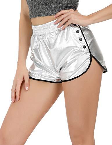 (Women's Yoga Hot Shorts Shiny Metallic High Waisted Shorts Pants (Silver,X-Large))